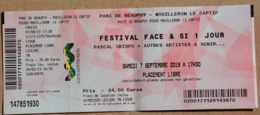 1 Ticket D'entrée Concert Festival Face & Si Pascal Obispo Du 07/09/2019 - Concerttickets