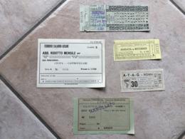 Lotto 5 Vecchi Biglietti Ferrovie Tramvie Funicolari - Biglietti Di Trasporto