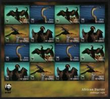 Gambia WWF African Darter Bird Sheetlet Of 16v MNH - Gambia (1965-...)