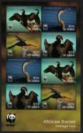 Gambia WWF African Darter Bird Sheetlet Of 8v MNH - Gambia (1965-...)