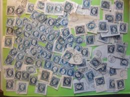 Lot De 100 Timbres Empire No 14 , 20 C Bleu , Obl Tous Types Et Nuances - 1853-1860 Napoleone III