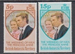British Antarctic Territory (BAT) 1973 Royal Wedding Princess Anne 2v ** Mnh (44953) - Brits Antarctisch Territorium  (BAT)