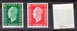 France 701 A/701 C Marianne De Dulac, 1 Timbre Signé, Neuf ** TB  MNH Sin Charnela Cote 825 J - Nuovi