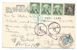 TAXE 30C  FLEURS PARIS DISTRIBUTION 27.7.1967 CARD CARTE USA 1CX3+4C - Marcophilie (Lettres)