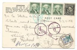 TAXE 30C  FLEURS PARIS DISTRIBUTION 27.7.1967 CARD CARTE USA 1CX3+4C - Marcofilia (sobres)