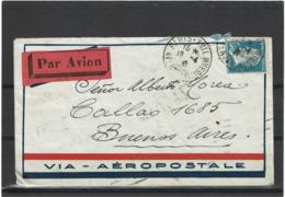 """LCTN57/5 -  FRANCE PASTEUR 1f50 SUR LETTRE AVION PARIS/BS.AIRES 18/4/1931 AU VERSO """"AVION ATRASADO"""" (AVION RETARDE) - Poste Aérienne"""