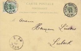 Belgium Uprated Postal Stationery Ganzsache Entier LIEGE (Guillemins) 1891 LÜBECK Germany (2 Scans) - Stamped Stationery
