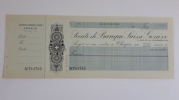 CHEQUE CHECK SWITZERLAND SOCIETE DE BAQUE SUISSE GENEVE 1930'S SCARCE - Cheques En Traveller's Cheques
