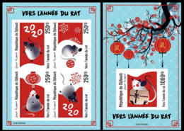 Djibouti 2019, Year Of The Rat, 4val In BF +BF IMPERFORATED - Astrology