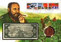 Kuba / Cuba Fidel Castro,Münzbrief,Numisbrief, 1 Peso Kupfermünze + 1 Peso Geldschein Aus Kuba, Rar - Cuba