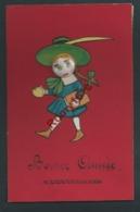 Petite Fille Avec Chapeau. Ajoutis.  LE VISAGE EST UN BOUTON EN PORCELAINE. Peinte à La Main. 1913. Rare. 2 Scans. - Enfants