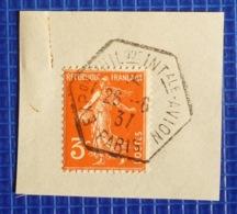 3c Semeuse Y&T N°278A Oblitération Exposition Philatélique Internationale Avion Paris 1937 Sur Fragment - 1921-1960: Periodo Moderno