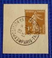 1c Semeuse Y&T N°277 Oblitération Exposition Paris Trocadéro 1937 Sur Fragment - 1921-1960: Periodo Moderno