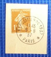 1c Semeuse Y&T N°277 Oblitération Exposition De 1937 Paris Sur Fragment - 1921-1960: Periodo Moderno