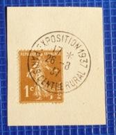 1c Semeuse Y&T N°277 Oblitération Exposition Paris Centre Rural 1937 Sur Fragment - 1921-1960: Periodo Moderno