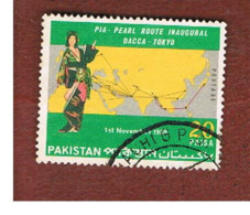 PAKISTAN  -  SG 284 -  1969   P.I.A. PEARL ROUTE DACCA-TOKYO   -  USED ° - Pakistan
