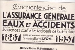 BUVARD / CINQUENTENAIRE / ASSURANCE GENERALE EAUX ET ACCIDENTS / TOULOUSE / RARE - Banque & Assurance
