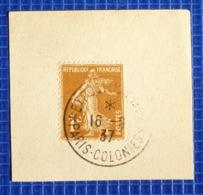 1c Semeuse Y&T N°277 Oblitération Exposition Paris Colonies 1937 Sur Fragment - 1921-1960: Periodo Moderno