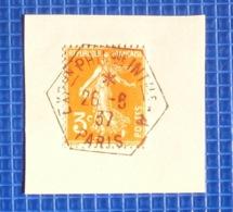 3c Semeuse Y&T N°278A Oblitération Exposition Philatélique Internationale A Paris 1937 Sur Fragment - 1921-1960: Periodo Moderno