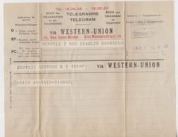Télégramme, Belgique 1952. - Telegraph
