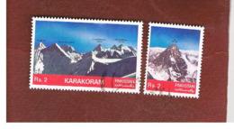 PAKISTAN  -  SG 568.569  -  1981  MOUNTAINS:  KARAKORAM (K2, BROAD PEAK) -  USED ° - Pakistan