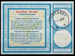 BELGIQUE / BELGIE Vi19 8 FRANCS BELGESInternationalReply Coupon Reponse IAS IRC Antwortschein O TURNHOUT 15.9.69 - Stamped Stationery