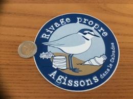 AUTOCOLLANT, Sticker «Rivage Propre - Agissons Dans Le Calvados (14)» (oiseau) - Adesivi