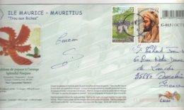 """Beaux Timbres """" Tortue Géante , Personnage  """" Sur Cp , Carte , Postcard - Mauricio (1968-...)"""