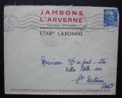 Chamalières (Puy De Dôme) Jambons L' Arverne Établissements Labonne, Enveloppe Illustrée (1952) - Poststempel (Briefe)