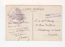 Sur CPA De Troyes Pour Fontenay Le Comte Vendée 1906 En FM C. Commissaire Militaire Et Contrôlé Par Autorité Mil. (3309) - Cachets Militaires A Partir De 1900 (hors Guerres)