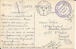 ESSONNE 91  -   - CACHET : SERVICE DE GARDE DE VOIES COMMUNICATION SECTEUR B GROUPE 3 POSTE 2- FERROVIARE - - 1915 - Marcophilie (Lettres)