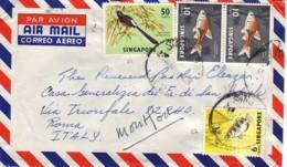 SINGAPOUR : 1964 - Lettre, Par Avion, Pour L'Italie - Poissons- Oiseau - Singapur (1959-...)