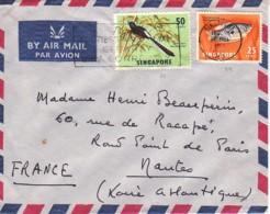 SINGAPOUR : Lettre, Par Avion, Pour La France - Poisson - Oiseau - Singapur (1959-...)