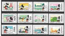 Année 2018 Série Mickey Et La France N° 1582-1593  Réf D - Frankreich