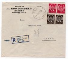 1939 YUGOSLAVIA, CROATIA, ZAGREB TO ZEMUN, REGISTERED MAIL, LETTERHEAD COVER, ADVOKAT DR. EDO NEUFELD - 1931-1941 Kingdom Of Yugoslavia