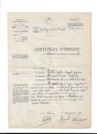 """WW1 Certificat D'origine De Blessure En Service Commandé THANN 1917""""intendance Des Troupes Coloniales"""" - Documents Historiques"""