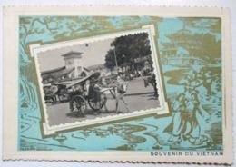 CARTE FEUILLET PHOTO SOUVENIR DU VIET-NAM EDITION N.P. SAIGON MEILLEURS VOEUX BONNE ANNEE ATTELAGE - Viêt-Nam