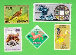 BHUTAN Surcharge Overprint 1971 55 Ch On 5 Stamps Scott 129 - 129D MNH Bhoutan - Bhután