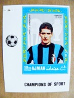 Error Printing Post Stamp Soccer Football Champions Of Sport Italy Player Angelo Domenghini - Adschman