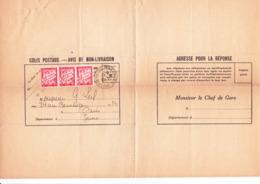 Bande De 3 X TA 33 Sur Avis De Colis De Chalon-sur-Saône Aux Ets Leil à Paris (1937) - Taxes