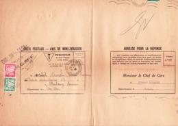 TA 33 Et 38 Sur Avis De Colis De Chalon-sur-Saône Aux Ets Ancel à Strasbourg (1939) - Taxes