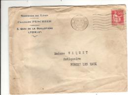 Enveloppe Charles Peschier 5 Quai De La Guillotière Quai 69 Rhône Soieries De Lyon - 1921-1960: Période Moderne