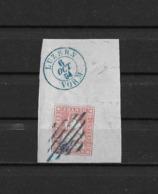 1854-1862 Helvetia (ungezähnt) → 1854 Brief-Segment Blaue Raute & Blauer 2-Kreisstempel LUZERN  ►SBK-24A3◄ - 1854-1862 Helvetia (Non-dentelés)