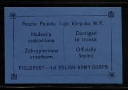 POLAND 1941 WW2 POCZTA POLOWA 1ST POLISH ARMY CORPS EXILED FORCES BLUE FIELD POST FELDPOST LETTER-SEAL NHM World War II - 1939-44: 2. WK