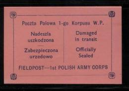 POLAND 1941 WW2 POCZTA POLOWA 1ST POLISH ARMY CORPS EXILED FORCES PINK FIELD POST FELDPOST LETTER-SEAL NHM World War II - 1939-44: 2. WK