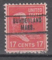 USA Precancel Vorausentwertung Preo, Locals Massachusetts, Sunderland 734 - Vorausentwertungen