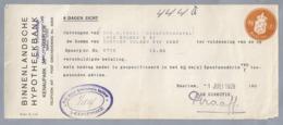 NL.- Betaal Bewijs Van De BINNENLANDSCHE HYPOTHEEKBANK. KENAUPARK 20 HAARLEM. 1 JULI 1925. - Nederland