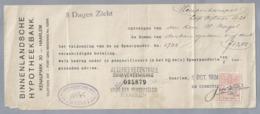 NL.- Betaal Bewijs Van De BINNENLANDSCHE HYPOTHEEKBANK. KENAUPARK 20 HAARLEM. 1 OCT 1924. - Nederland