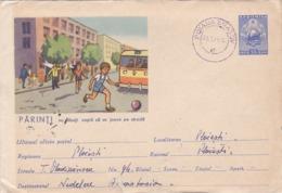 HEALTH, ROAD SAFETY, TRAFFIC, CHILD, CAR BUS, COVER STATIONERY, ENTIER POSTAL, 1962, ROMANIA - Accidents & Sécurité Routière