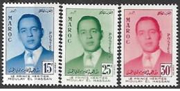 Marocco - 1957 - Nuovo/new MNH - Principe Moulay - Mi N.  426/28 - Morocco (1956-...)